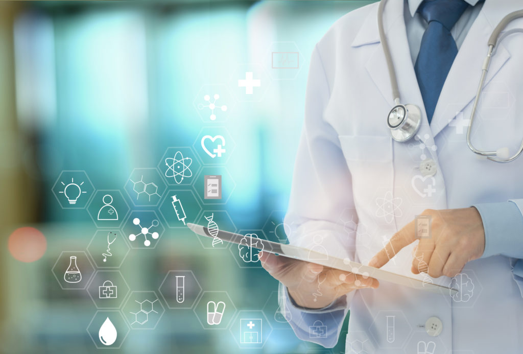 medical technology and medicine healthcare concepts. doctor using digital tablet with science icons screen interface.